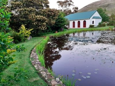 Church from behind pond-2